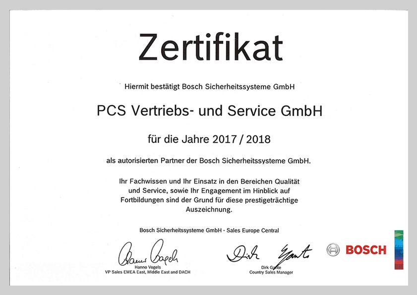 PCS ist autorisierter Bosch-Partner